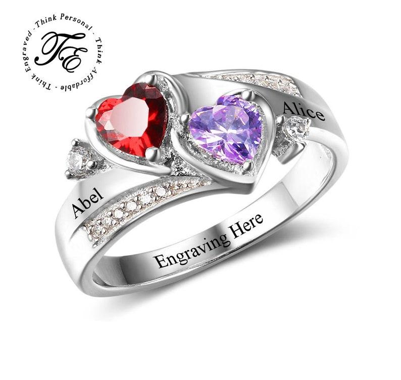 054ddf63fd45e Women's Promise Ring 2 Birthstone Beautiful Hearts Antique Feel