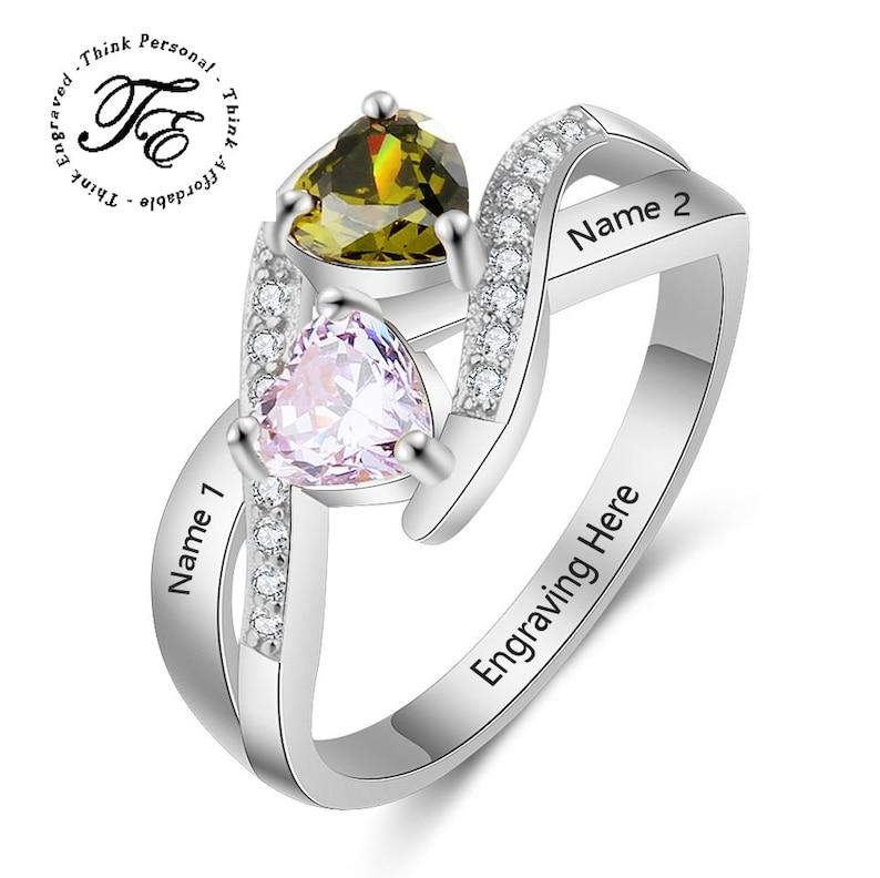 Mothers Ring 2 Stone Personalized Engraved 2 Birthstone  Circled Hearts