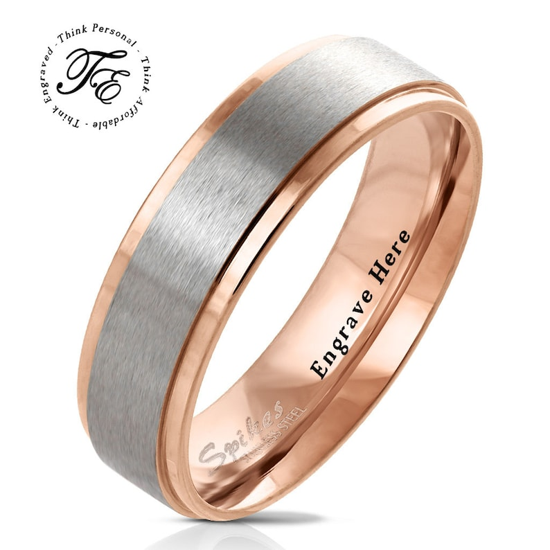 Mens Promise Ring Mens Wedding Band Personalized Engraved Two Tone