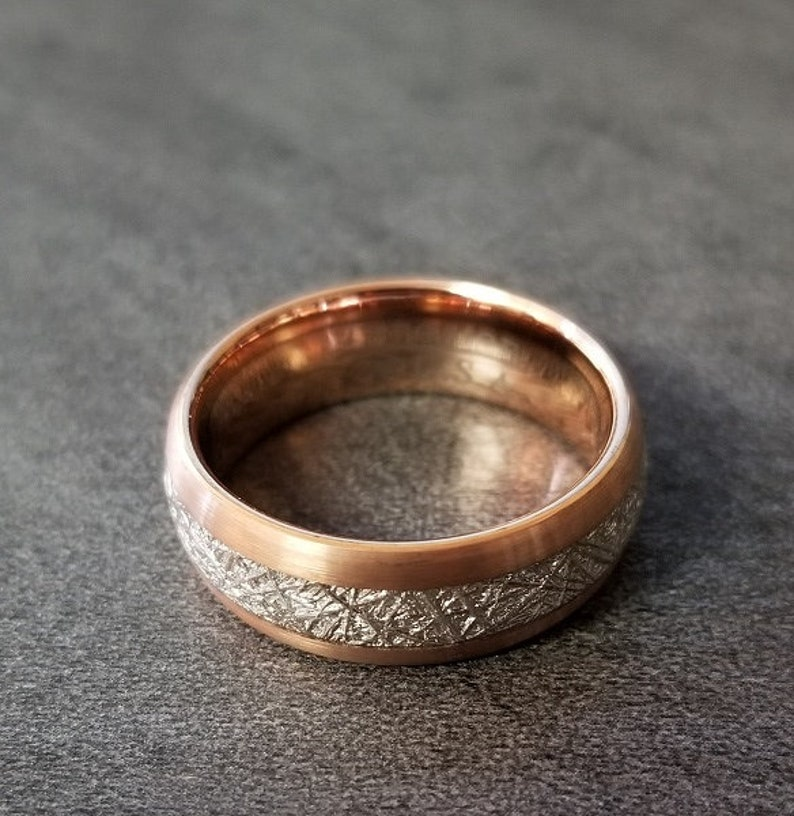 Mens Engraved Tungsten Wedding Band With Meteorite Inlay And Rose Gold Plate