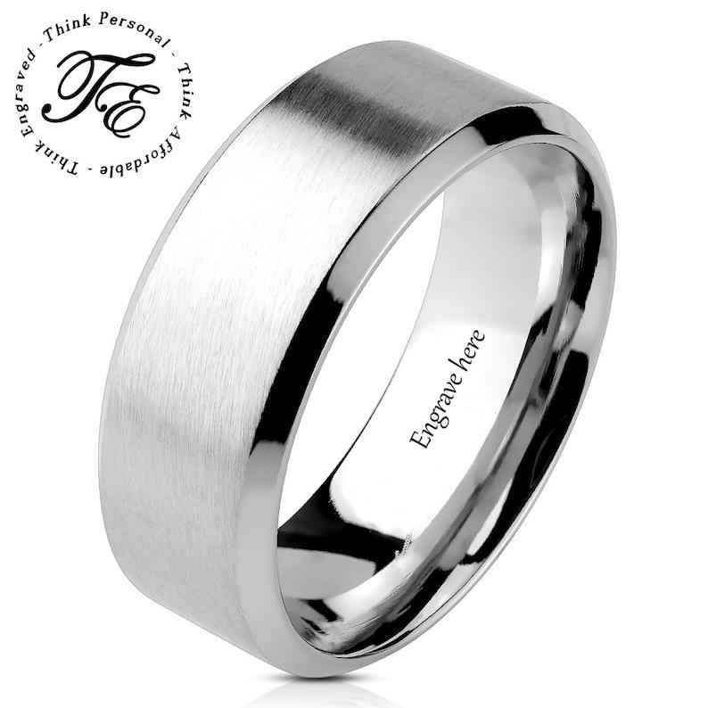 445844de23 Men's or women's Promise Ring Engraved Brushed | Etsy
