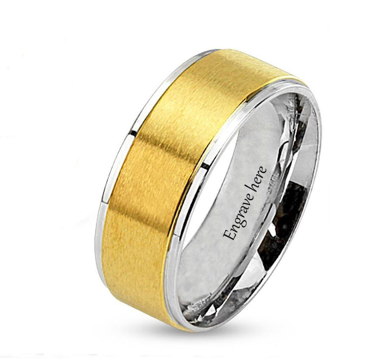 80f88b1630 Men's Promise Ring Engraved Brushed 14k Gold IP Beveled | Etsy