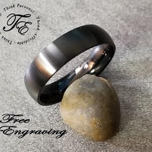 Custom Engraving Men Women 6MM Stainless Steel Ring Black Anodized Classic Domed Wedding Band Ring BRSR-778-N