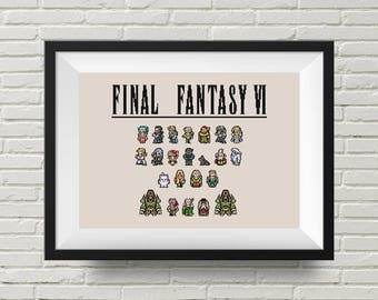 Final Fantasy VI Group Cross Stitch Pattern, Video Game, Retro Gaming Needlework, PDF Instant Download