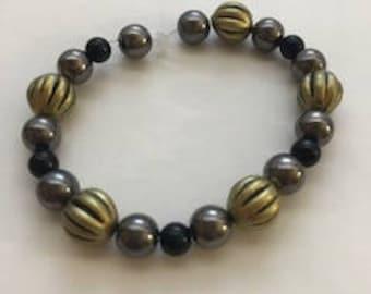 Olive, Gray, and Black Stretch Bracelet, Boho Bracelet