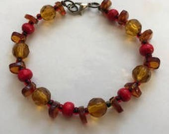 Copper and Red Beaded Bracelet, Gifts for Her