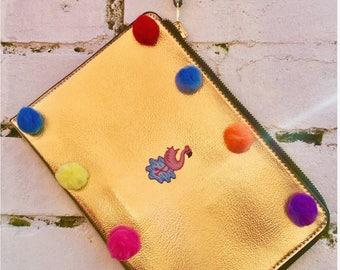 Metallic Embellished Gold Clutch Bag!