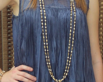 VINTAGE Hippie Chic Boho Bohemian PEARLy NECKLACE 1920s look 1960s 1970s