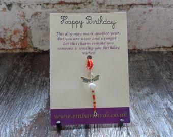 Happy Birthday Dragonfly charm, Birthday gift