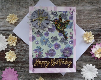Hummingbird birthday card, Handmade Greeting card