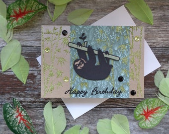 Handmade Sloth Birthday card
