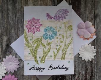 Pastel flowers Birthday card