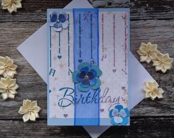 Handmade blue flower birthday card.