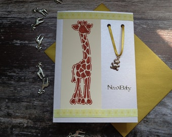 Congratulations new baby card, Handmade new baby card, Giraffe card