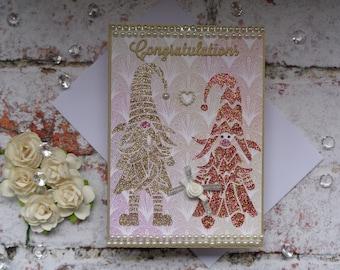 Gnome Wedding card, Quirky Congratulations card