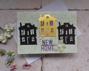 New home card. Handmade Congratulations new home.