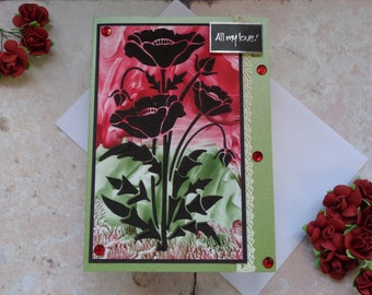 Poppy Handmade Greeting card. Blank with no message