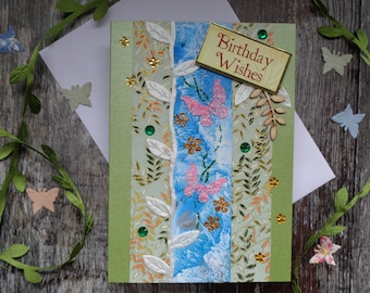 Leaf and butterfly birthday card. Handmade greeting card