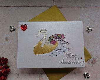 Wedding Anniversary Swan card, Handmade pearlescent iris fold card