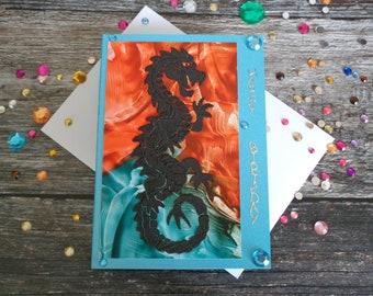 Dragon Birthday card, Handmade Greeting card