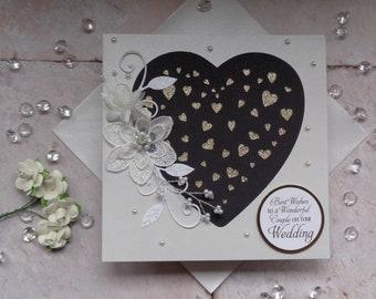 Glittery heart Wedding card, Congratulations on your Wedding Day
