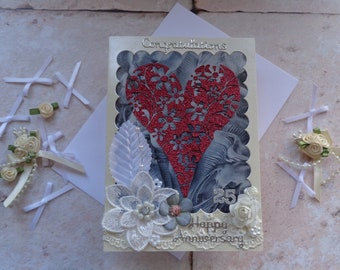 Handmade 25th Silver Wedding Anniversary heart and flowers Card.