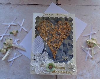 Handmade 50th Golden Wedding Anniversary heart and flowers Card.