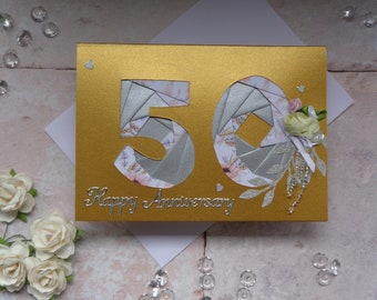 "50th Wedding Anniversary card, Handmade ""Gold"" floral anniversary card"