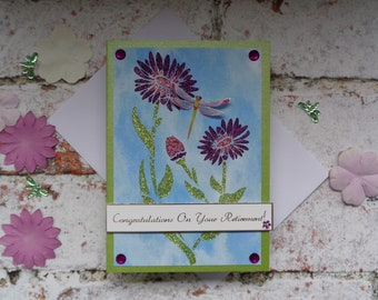 Flower and Dragonfly Retirement card