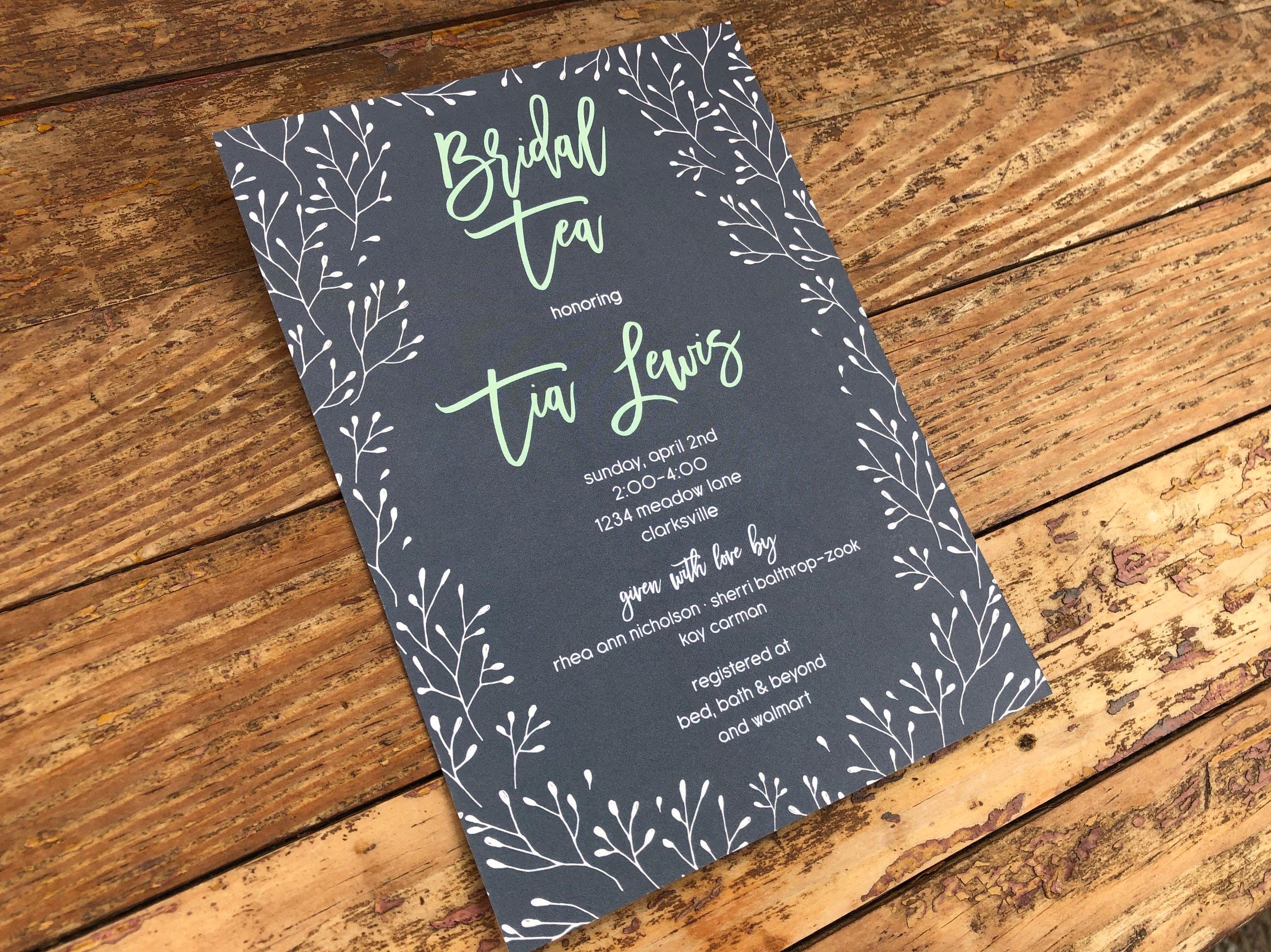Bridal Shower Invitation. Bridal Tea Invitation. Twigs Shower Invitation.