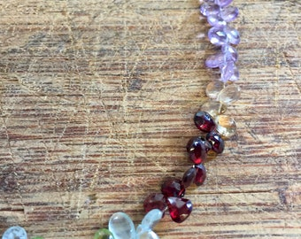 Rainbow Chalcedony teardrop necklace
