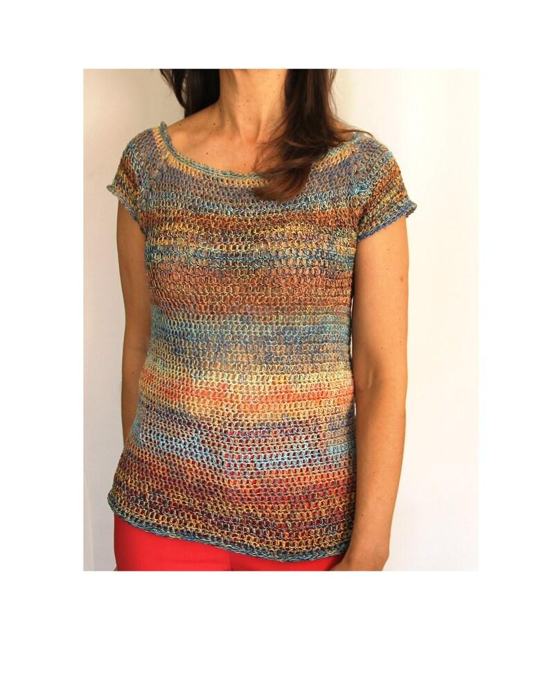 Patrón Top ATARDECER de crochet. PDF tutorial de ganchillo. image 0