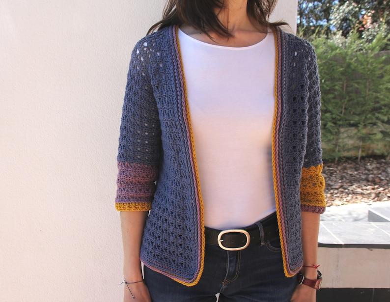 Patrón CÁRDIGAN V de VIDA de crochet. PDF tutorial de chaqueta image 0