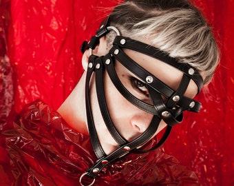 MASK, Face Harness, Head Harness, gap, Body Harness, bdsm, bondage, arnés de cara, máscara, fetish, gothic, black harness, black mask