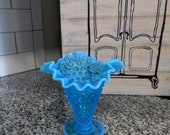 Blue Fenton Silver Crest Double Ruffle Hobnail Vase