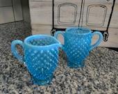 Blue Fenton Silvercrest Opalescent Hob Nail Sugar and Creamer Set