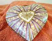 Hand Painted Porcelain Heart Shaped Hinged Trinket Box
