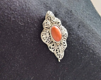Victorian Cabachon Red Coral Silver Brooch