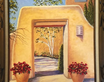 Loretto Chapel Gate original framed oil on canvas