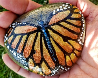 Monarch butterfly hand painted stone