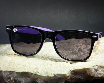 7c00a791e7 Classic RayBan WAYFARER® Sunglasses Unisex Timeless Design Hand Made in  Italy Black Violet New Old Stock in Case