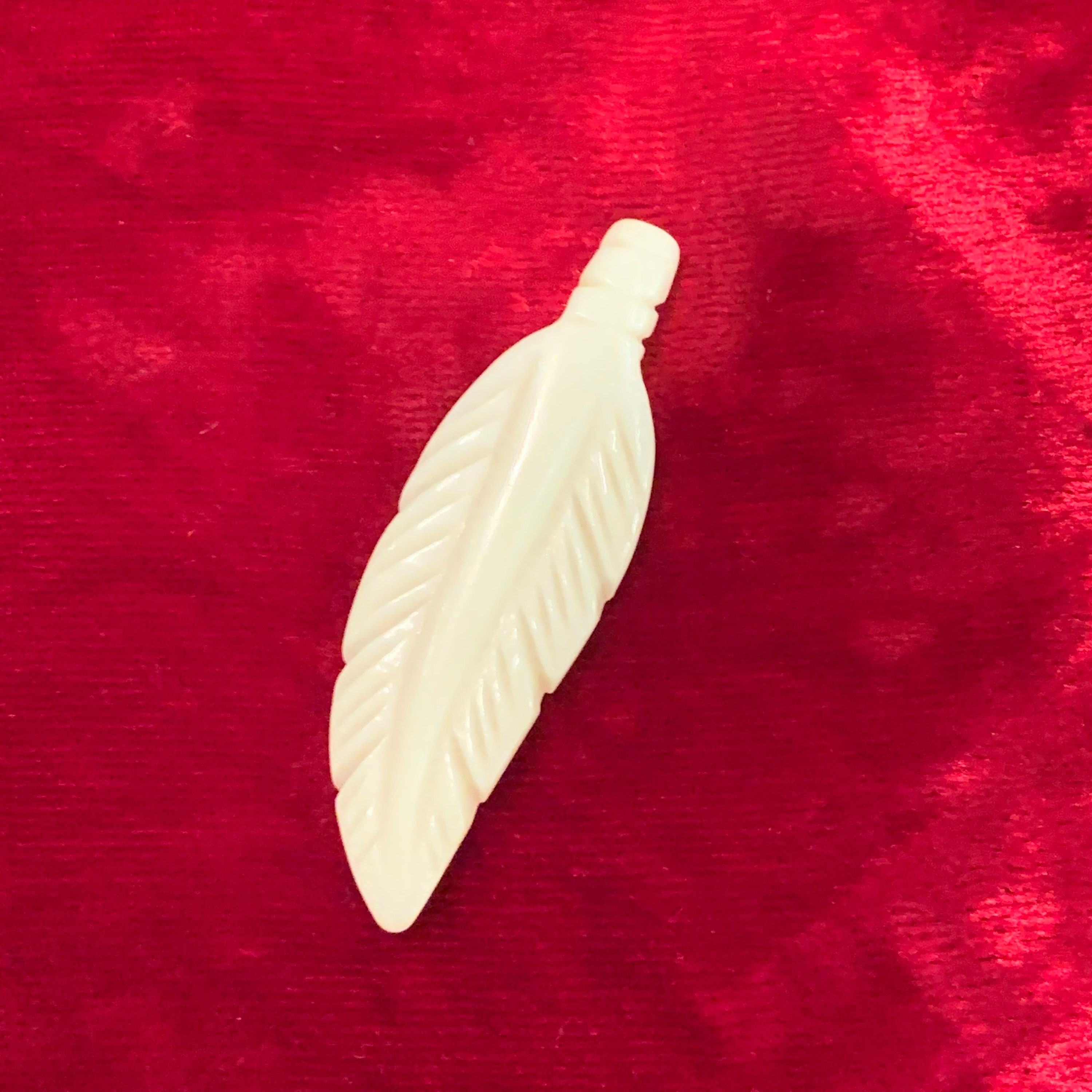 Feather Pendant Hand Carved Bone Pendant