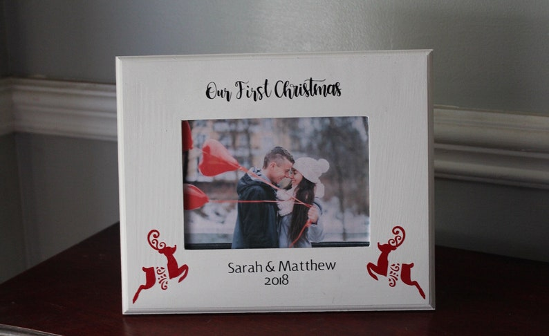 Houswarming Gift New Couple Gift Personalized Wedding Frame Christmas Gift Our First Christmas Christmas Picture Frame Wedding Gift