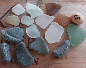 15 large pieces of polished sea glass