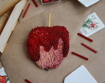 Caramel Apple, Unique Handmade Embroidery Beads Brooch