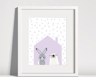 Nursery Decor, Animal Nursery Print, PRINTABLE Nursery Art, Nursery Wall Art, Bunny Print, Seal Print, Baby Girl Nursery, Kid's Wall Art