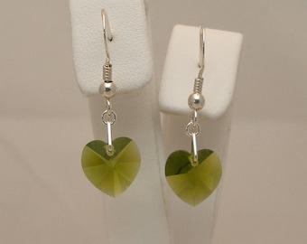 10mm Olivine (Olive Green) Swarovski Crystal Heart Drop Earrings