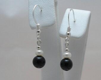 Semi-Precious Black Onyx & Freshwater Pearl Sterling Silver Earrings
