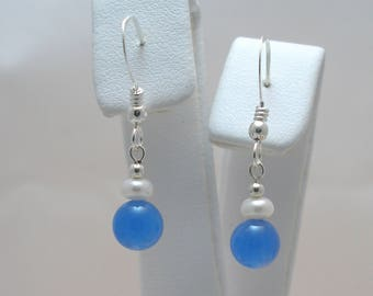 Blue Onyx and Freshwater Pearl Sterling Silver Drop Earrings