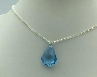22mm Swarovski Crystal Baroque Pendant in Aquamarine on a Silver Chain